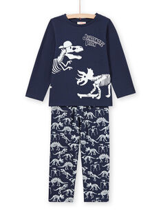Pijama fosforescente azul noche con estampado de dinosaurios para niño MEGOPYJGLOW / 21WH1236PYJ705