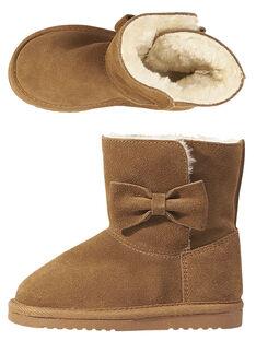 Botas invernales de piel de serraje de color camel para niña GFBOTTEPAU / 19WK35Y4D10804
