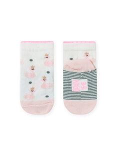 Calcetines de color crudo y rosa con estampado de cisne para bebé niña MYIKASOQ / 21WI09I1SOQ001