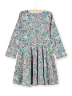 Vestido caqui y rosa con estampado floral para niña MAKAROB5 / 21W901I2ROB612