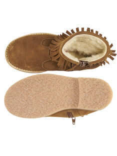 Botas con flecos de piel de serraje de color camel para niña GFBOOTFRAN / 19WK35X3D0D804