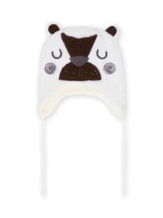 Gorro de color crudo con estampado de oso de sherpa para bebé niño MYUGROBON3 / 21WI1063BON001
