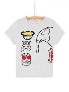 Camiseta de color gris jaspeado y negro, para niño LOVITI6 / 21S902U2TMC943
