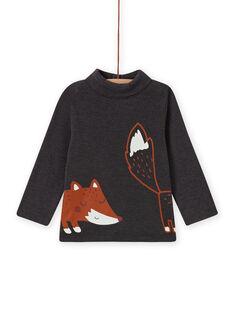 Jersey fino de cuello vuelto gris antracita con estampado de zorro para bebé niño MUSAUSOUP / 21WG10P1SPL944