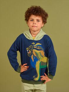Sudadera con capucha de color azul noche con estampado de león para niño MOKASWE / 21W902I1SWE705