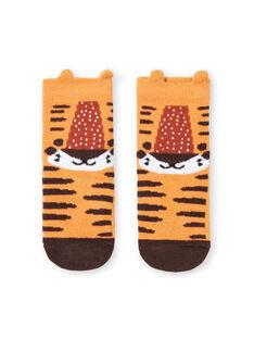 Calcetines mostaza con estampado de tigre para bebé niño LYUTERCHO1 / 21SI10V1SOQB106