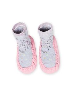 Patucos altos de color gris jaspeado con estampado de llama para bebé niña MICHO7LAMA / 21XK3721D08943
