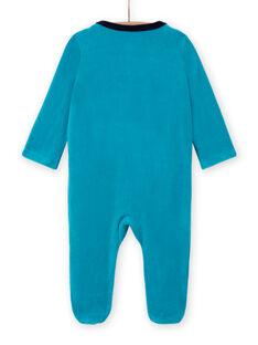 Pelele turquesa de terciopelo con estampado de ositos para bebé niño MEGAGREOUR / 21WH1484GRE202