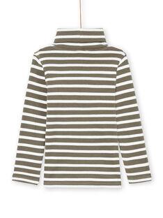 Jersey fino de manga larga de color caqui y crudo de rayas para niño MOJOSOUP3 / 21W902N3SPLG631