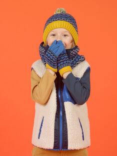 Gorro azul con borla con estampado de punto jacquard para niña MYOGROBON6 / 21WI0268BON221