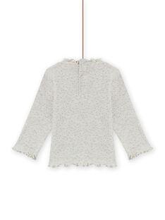 Jersey fino de color beige jaspeado de canalé para bebé niña MIJOSOUPRIB4 / 21WG09N3SPLA011