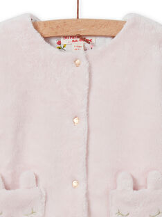 Cárdigan reversible de color rosa pastel para bebé niña MIJOCAR2 / 21WG0912CAR632