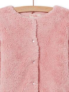 Cárdigan reversible de pelo artificial de color rosa pastel para niña MAJOCARF3 / 21W90112CAR312