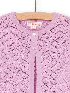 Cárdigan rosa de punto calado, para bebé niña LIVICAR / 21SG09U1CAR320