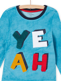 Pijama azul zafiro con estampado de YEAH para niño MEGOPYJYEAH / 21WH1296PYJC211