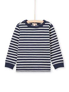 Camiseta de manga larga de rayas de color crudo y azul marino para niño MOJOTIRIB1 / 21W90226TML001
