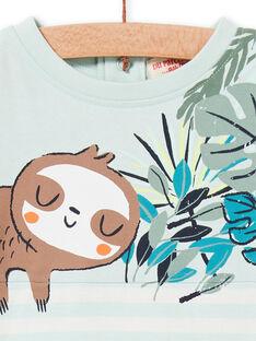 Camiseta de rayas de color verde agua y blanco, para bebé niño LUVERTI3 / 21SG10Q3TMCG632
