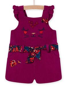 Peto de color violín y cinturón de terciopelo para bebé niña MIPASAC / 21WG09H2SAL712