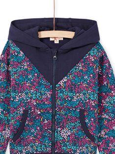 Sudadera de chándal con capucha y estampado floral de color azul noche para niña MAJOHAUJOG4 / 21W90114JGHC205