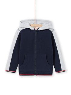 Sudadera de color azul marino y gris jaspeado con capucha para niño MOJOJOH1 / 21W90212JGH705
