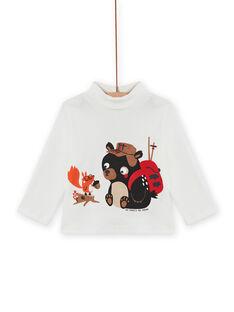 Jersey fino de color crudo con estampado de osito y ardilla para bebé niño MUFUNSOUP / 21WG10M1SPL001