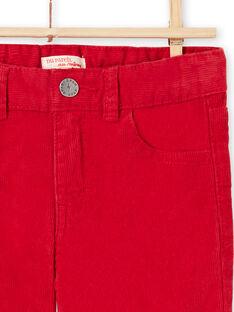 Pantalón rojo de pana para niño MOJOPAVEL3 / 21W90212PANF508