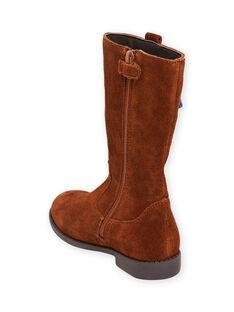 Botas altas color camel de piel y borlas para niña MABOTTEMEL / 21XK3584D10804