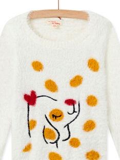 Jersey de color crudo de pelo artificial con estampado de perro para niña MAMIXPULL / 21W901J1PUL001