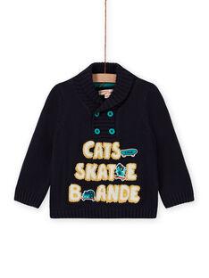 Jersey azul con cuello chimenea y bordados de fantasía para bebé niño MUTUPUL / 21WG10K1PULC234