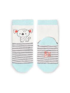 Calcetines de rayas de color blanco y celeste para bebé niño LYUPOECHO1 / 21SI10Y1SOQ001