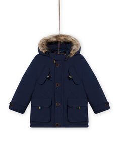 Parka 3 en 1 con capucha de color azul marino para niño MOGROPAR3 / 21W90261PAR705