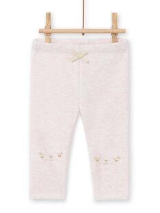 Leggings forrados de color rosa jaspeado con estampado de conejos bordado para bebé niña MIJOPANDOU3 / 21WG0912PAND314