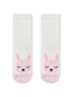 Calcetines de color crudo con estampado de conejo para bebé niña MYIJOSOQB4 / 21WI0912SOQ001