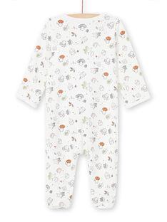 Pelele de color crudo con estampado de fantasía all-over para recién nacido unisex MOU1GRE5 / 21WF0542GRE001