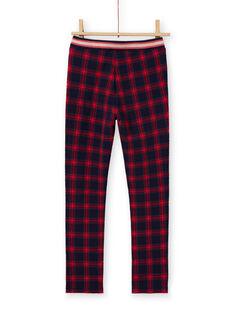 Pantalón milano de color azul noche y rojo con estampado de cuadros escoceses para niña MAMIXPANT / 21W901J1PANC205