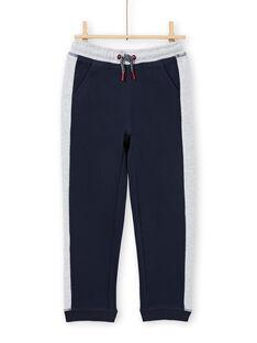 Pantalón de chándal de color azul marino y gris jaspeado para niño MOJOJOB1 / 21W90214JGB705