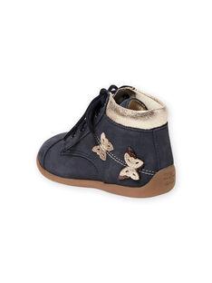 Botines de color azul marino con estampado de mariposas para bebé niña MIBOTICLAS / 21XK3752D0F070