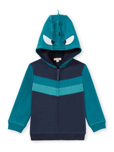 Cárdigan con cremallera y capucha azul noche con dibujo de fantasía para niño MOTUGIL2 / 21W902K2GIL705