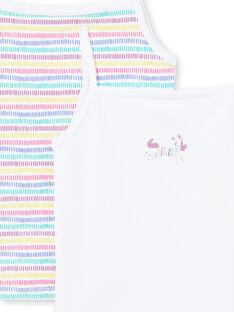 Pack de 2 camisetas de tirantes de color blanco y multicolor a juego para niña MEFADELIC / 21WH11B1HLI000