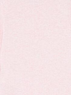 Body de manga larga con color rosa jaspeado con estampado de oso para bebé niña LEFIBODCOU / 21SH132ABDLD314