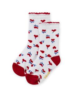 Calcetines de color crudo y rojo con estampado de corazón para bebé niña MYIMIXSOQB / 21WI09J1SOQ001
