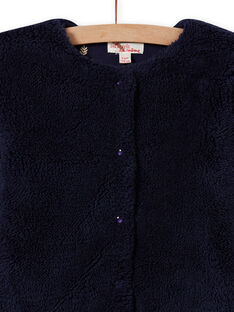 Cárdigan reversible de pelo artificial de color azul noche para niña MAJOCARF1 / 21W90114CARC205