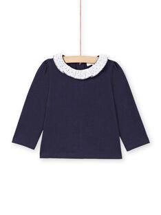 Camiseta de color azul marino y blanco para bebé niña MIJOBRA3 / 21WG0913BRA070