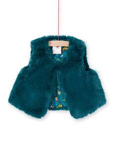 Chaleco de color azul pato con pelo artificial para bebé niña MITUCAR2 / 21WG09K2CAR714
