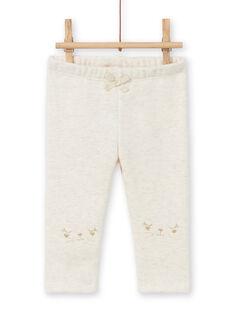 Leggings forrados de color beige jaspeado con estampado de conejos bordados para bebé niña MIJOPANDOU1 / 21WG0911PANA011