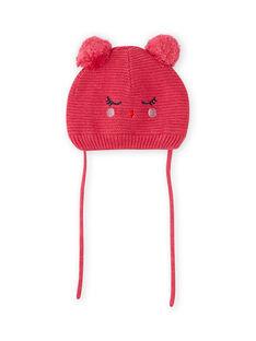 Gorro de color rosa vintage con estampado de gato y borlas para bebé niña MYIFUNBON / 21WI0966BOND332