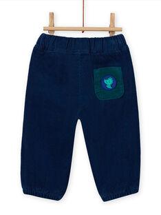 Pantalón de color azul noche de pana para bebé niño MUJOPAN3 / 21WG1012PAN713