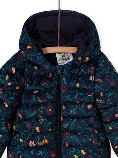 Anorak acolchado con estampado floral colorido de terciopelo para niña MAVELDOUNE / 21W90154D3E070