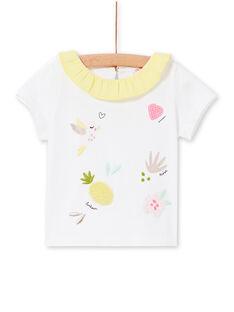 Camiseta blanca y amarilla para bebé niña LIBALBRA / 21SG09O1BRA000