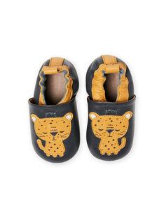 Zapatillas de casa de piel de color azul con estampado de tigres para bebé niño MUCHOLEO / 21XK3823D3S070